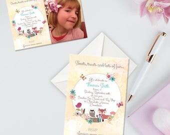 Childrens Birthday Invitation, Woodland Theme Fox Birthday Party Invitation, Pack of 10, Afforable Invitations With Envelopes