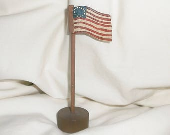 Small vintage 13 star Wooden American Flag • standing • 3 7/8 inches tall