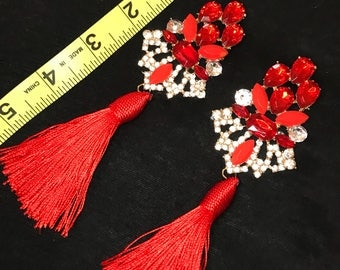 Regal Red Tassle Earrings