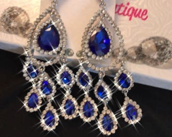 Royal Blue Crystal Chandelier Pierced Earrings
