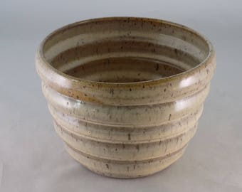 Ringed Serving Bowl-Earth Tone Glaze-Small Ceramic Bowl-Decorative Bowl-Ringed Pottery Bowl-Cottonwood Creek-Elizabeth Gebert-Home Decor