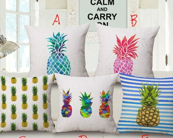 Pineapple Grafitti Designs Printed Square Throw Pillow Covers Pillowcases Cushion Covers for Home