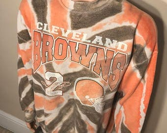 Vintage Cleveland Browns sweatshirt // crewneck // tie die all over print // tim couch // adult size xl // faded distressed // old school