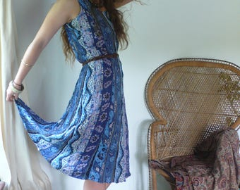 Vintage 90s Floral Boho Grunge Hippie Summer Festival Midi Tea Dress, I am now a river, carving my own path.