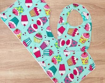 Cupcake Bib and Burp Cloth Gift Set for Girls