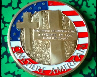 American Cemetery Normandy Colorized Challenge Art Coin