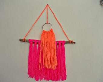 Home decore Handmade Driftwood and wool home decoration pink and orange sweet cotton candy home decoration