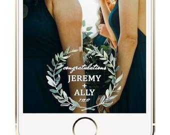 Wedding Snapchat Filter, Rustic Wedding Snapchat Geofilter, Wedding Snapchat Geofilter, Wedding Filter, Wedding Ideas, Wreath Wedding Geotag