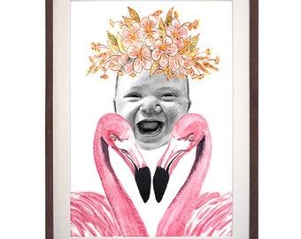 Hand Drawn Portrait Flamingo
