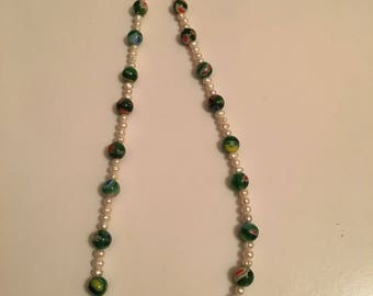 millefiori beads and pearl necklace