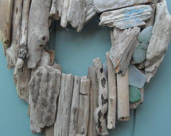 Heart made from  driftwood and sea glass collected from Solent beaches.