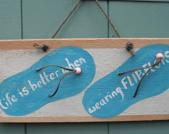 Hand painted Flip Flop sign.