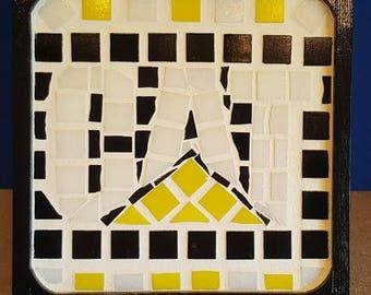 Caterpillar mosaic plaque