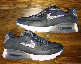 crystal Nike Air Max 90 Ultra Bling Shoes with Swarovski Crystals Women's Running Shoes Black