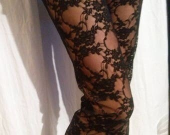 Leggings pattern Black Lace flower