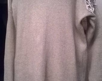 Long sweater in cotton and viscose beige