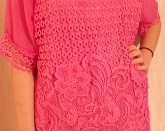 Fuchsia color embroidered chiffon tunic