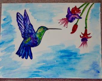 Watercolour Hummingbird painting