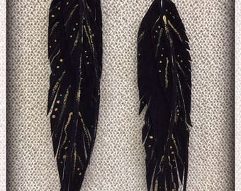 Hand Painted Leather Earrings, Feather Earrings, Black and Gold, Long Earrings