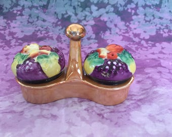 Gold Castle Chikusa Salt and Pepper Shakers - Fruit and Veggies Luster Basket