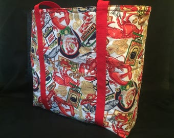 Lobsters- Functional, Multiple Use, Fully Lined Cotton Tote Bags