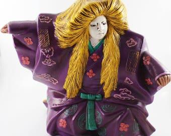Vintage Kabuki Hand Painted Porcelain Figurine