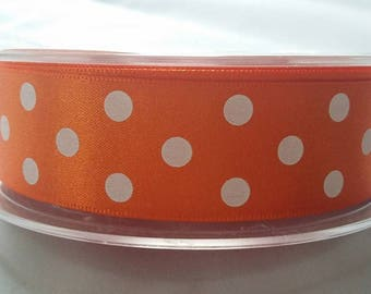 25mm Double Satin  Polka Dot Ribbon 4 colours Pink, shocking pink, gold, orange