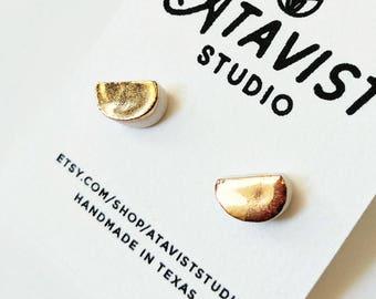 Gold Half Moon Porcelain Earrings