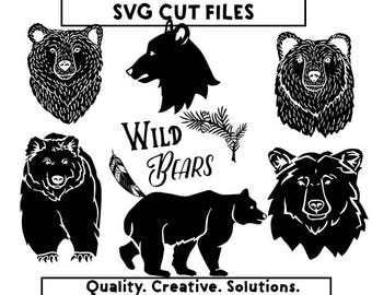 Wild Bears Clip Art,Wild Bears SVG,Bears SVG,Nature SVG,Wild Bears png,Bears png,Instant download,Nature clip art,Nature png