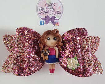 Girl and pug large glitter hair bow