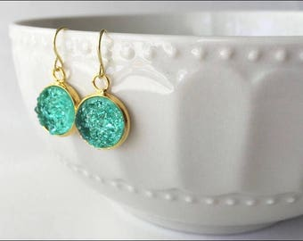 Seafoam Druzy &Gold Dangle Earrings