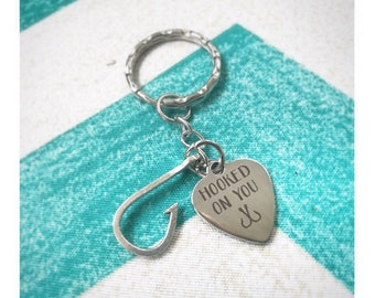 Hooked On You Keychain. Fishermen Gift. Gifts for him