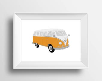 Volkswagen Bus Wall Art, VW Bus Drawing, Digital Download, Volkswagen Pop Art, Vintage Car Decor, Hippie Van, VW Decor