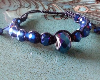 Gun Metal Iridescent Blue Glass Beads Spacer Center Piece Black Hemp Cording Adjustable Bracelet or Anklet Gothic
