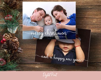 Modern Christmas Card, Family Photo Card, Holiday Card, New Years Card, Minimalist, Printable Card, Greeting Card, 5x7, Digital File, JPEG