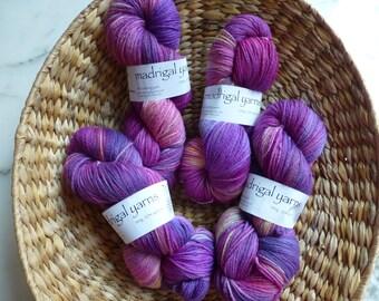 Hand Dyed Knitting Yarn from Madrigal Yarns - Magenta Dream 100g Skein