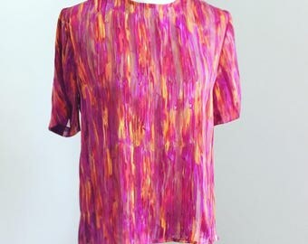Pink Purple & Orange Sheer Watercolor Blouse
