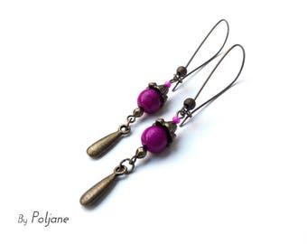 Purple fuchsia Pearl ♦ bronze charm earrings purple pink pearl drop earrings