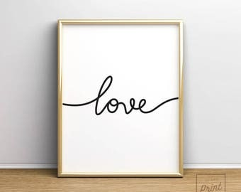 Love Print, Printable Art, Home decor art, Love Print, Love Wall Art, Love Poster, Love Printable, Minimalist Print, First Apartment Gift