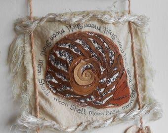 Mixed Media Textile Wall Hanging - Moon Shell Wall Hanging