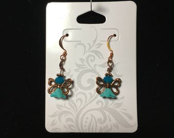 Copper angel earrings