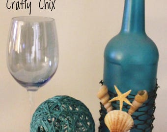 Homemade Nautical Themed Decorated Wine Bottle