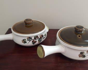 Denby Stoneware, Denby Shamrock, Set of 2 French Onion Soup Bowls with Lids, Denby Shamrock Pattern, Excellent Vintage Condition