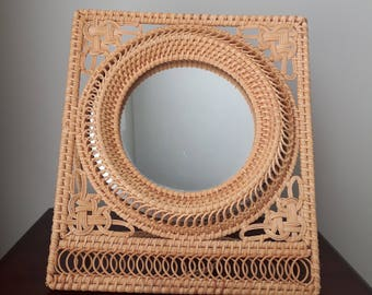Vintage Wicker Mirror, Stand Up Mirror for Table, Dresser, Bathroom, Powder Room