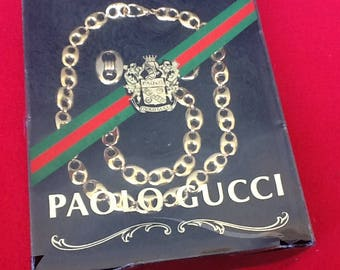 Paulo Gucci Designed Set of Vintage Goldtone Necklace, Bracelet & Clip Earring NIB