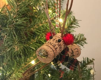 Wine Cork Reindeer Ornament with Red Ear Muffs