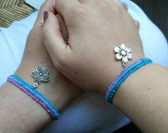 Lilac and Blue Macrame Friendship Bracelets For 2 With Flower Charm