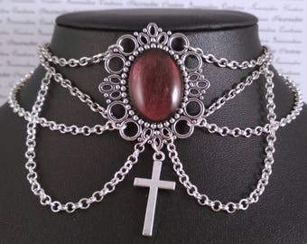 Handpainted color changing red stone and silver cross chain choker necklace gothic victorian