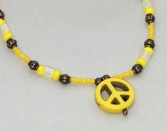 Sunshine Yellow Peace Sign Anklet