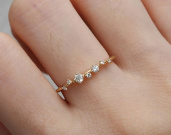 Diamond Cluster Ring Twig Engagement Ring Floral Unique Wedding Band Snowflake Yellow Gold Dainty Flower Mini Tiny Anniversary Promise gift